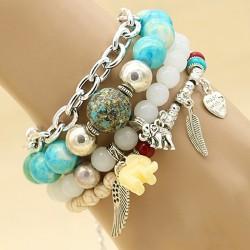 دستبند دخترانه چهار تایی با سنگ های فیروزه ای و آویز پر و بال مدل B254
