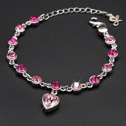 دستبند زنانه کریستالی با آویز قلب مدل B148