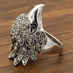 انگشتر زنانه طرح عقاب با رنگ نقره ایی مدل R113