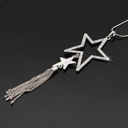 گردنبند رولباسی و رومانتویی نگین دار طرح ستاره مدل N159