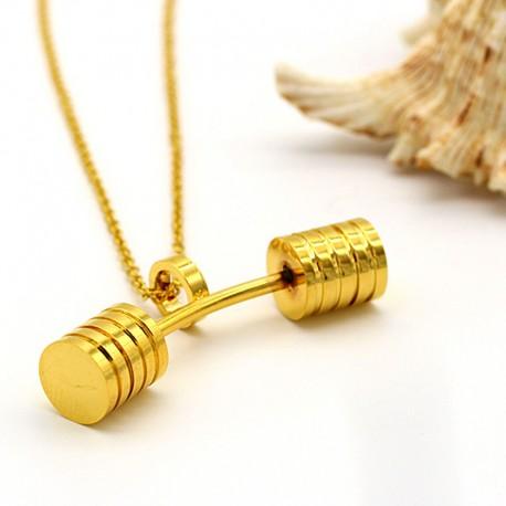 گردنبند هالتر خمیده استیل رنگ طلایی مدل N167