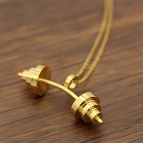 گردنبند هالتر خمیده طلایی استیل مدل N173