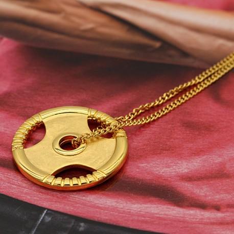 گردنبند وزنه فرمانی طلایی رنگ استیل مدل N176