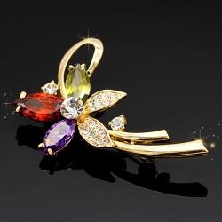 گل سینه کریستالی طرح گل مدل S122
