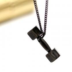 گردنبند دمبل مشکی با جنس استیل مدل N192