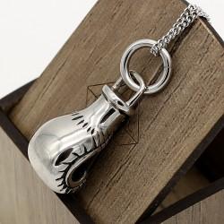 گردنبند دستکش بوکس استیل رنگ نقره ای مدل N203