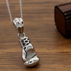 گردنبند استیل دستکش بوکس رنگ نقره ای مدل N204