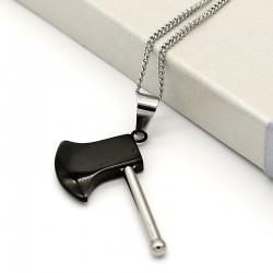 گردنبند طرح تبر استیل رنگ نقره ای مشکی مدل N205