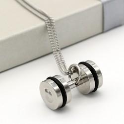 گردنبند دمبل دو رنگ استیل نقره ای مشکی مدل N207