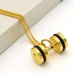 گردنبند دمبل دو رنگ استیل طلایی مشکی مدل N208