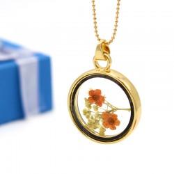 گردنبند شیشه ای گل خشک با گل های نارنجی مدل N221