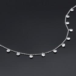 سینه ریز زنانه زنجیری نقره ای ظریف با نگین های سفید مدل N223