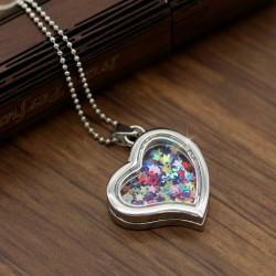 گردنبند شیشه ای رولباسی با پولک ستاره طرح قلب مدل N226