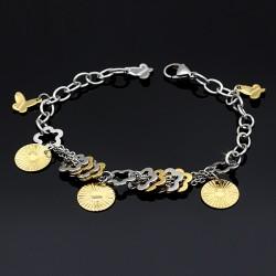 دستبند زنانه زنجیری با آویز پروانه و قلب جنس استیل مدل B161