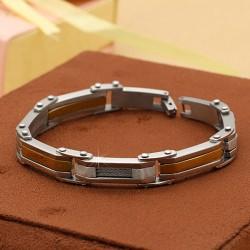 دستبند مردانه بندی استیل با رنگ ثابت مدل B166
