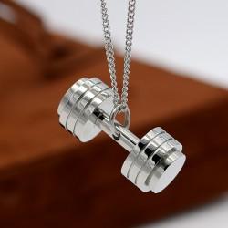 گردنبند طرح دمبل رنگ نقره ای جنس استیل مدل N242