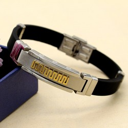 دستبند مردانه ورساچه با بند لاستیکی و بدنه استیل مدل B179