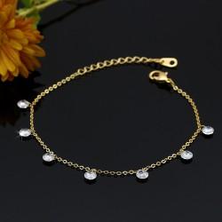 دستبند زنانه نگین دار ظریف با آبکاری رادیوم و رنگ طلایی مدل B183