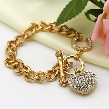 دستبند زنانه زنجیری با آویز قلب نگین دار مدل B184