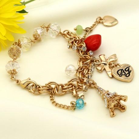 دستبند دخترانه فانتزی با آویز های قلب و برج ایفل مدل B189