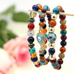 دستبند زنانه چند رج با سنگ های رنگی زیبا مدل B191