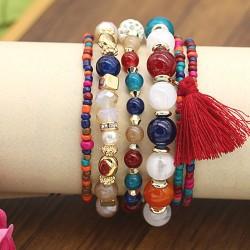 دستبند زنانه چند رج با سنگ های رنگی زیبا مدل B192
