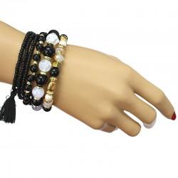 دستبند زنانه چند رج با سنگ های مشکی و سفید مدل B193