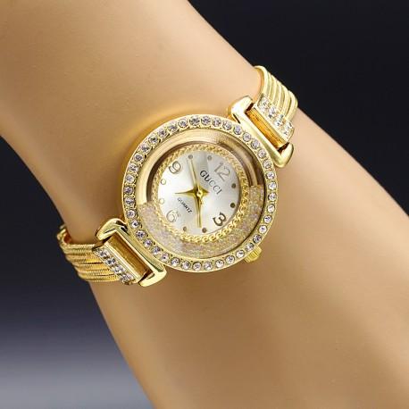 ساعت مچی دخترانه نگین دار جنس استیل و رنگ طلایی مدل F146