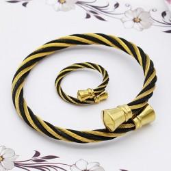 ست زنانه دستبند و انگشتر استیل رنگ طلایی مشکی مدل M101