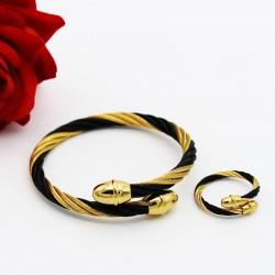 ست دخترانه دستبند و انگشتر با امکان تغییر سایز رنگ طلایی مشکی مدل M103