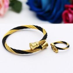 ست دخترانه دستبند و انگشتر با امکان تغییر سایز رنگ طلایی مشکی مدل M104