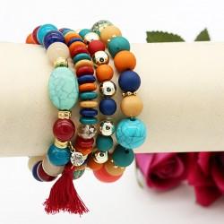 دستبند زنانه چند رج با سنگ های رنگارنگ مدل B198