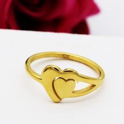 انگشتر دخترانه استیل طرح قلب رنگ طلایی مدل R123