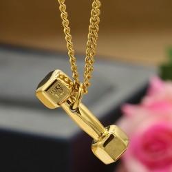 گردنبند طرح دمبل طلایی جنس استیل مدل N278