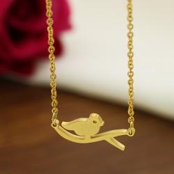 گردنبند دخترانه طرح پرنده جنس استیل و رنگ طلایی مدل N281