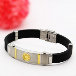 دستبند مردانه شیک با بند لاستیکی و بدنه استیل مدل B201