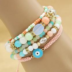 دستبند زنانه چند تکه با سنگ های رنگارنگ مدل B202