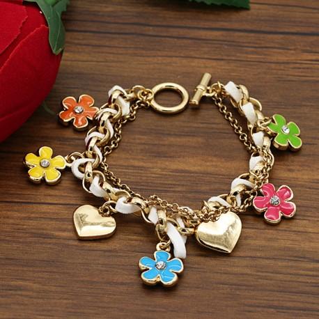 دستبند زنانه فانتزی با آویزهای قلب و گل های رنگی مدل B206