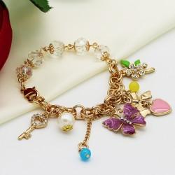 دستبند دخترانه فانتزی با آویز های پروانه و قلب و کلید و گل مدل B207