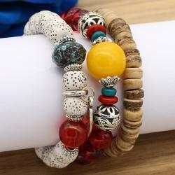 دستبند زنانه چند رج با سنگ های رنگی مدل B212