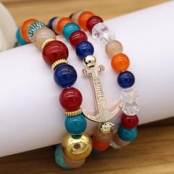 دستبند زنانه چند رج با سنگ های رنگی زیبا و مدل B224