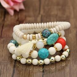 دستبند دخترانه چند تایی با سنگ های سفید و رنگی مدل B228