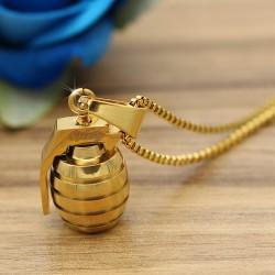 گردنبند استیل طرح نارنجک جنس استیل و رنگ طلایی مدل N288