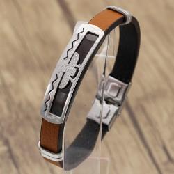 دستبند مردانه طرح فروهر با بند لاستیکی قهوه ای و بدنه استیل مدل B215