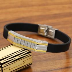 دستبند مردانه با بند لاستیکی و بدنه استیل مدل B216