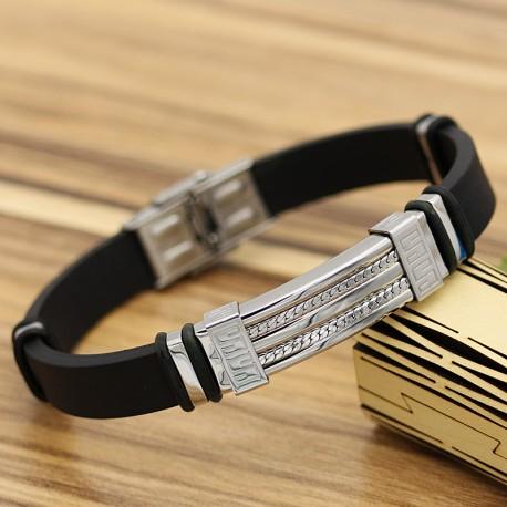 دستبند مردانه با بند لاستیکی و بدنه استیل نقره ای رنگ مدل B217