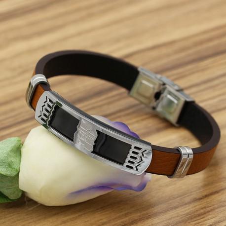دستبند مردانه طرح نقشه ایران با بند لاستیکی قهوه ای و بدنه استیل مدل B220