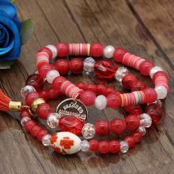 دستبند زنانه چند تکه با سنگ های قرمز رنگ مدل B232