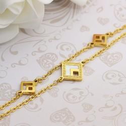 دستبند زنانه استیل دو زنجیره با رنگ طلایی مدل B236