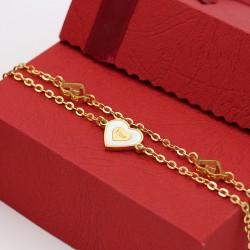 دستبند زنانه استیل دو زنجیره طرح قلب با رنگ طلایی مدل B237